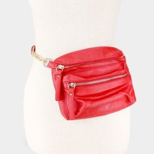 Red Leather Crossbody Bag / Fanny Pack Dual
